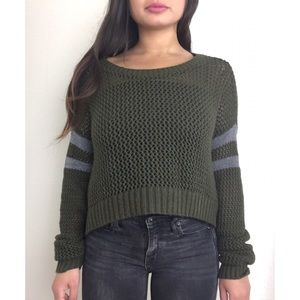 BDG. Urban Outfitters Cropped Knit Olive Pullover